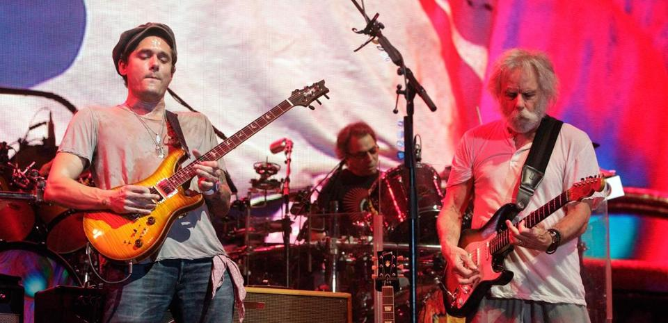 From left: John Mayer, Mickey Hart, and Bob Weir of Dead & Company at the Bonnaroo Music and Arts Festival in June.