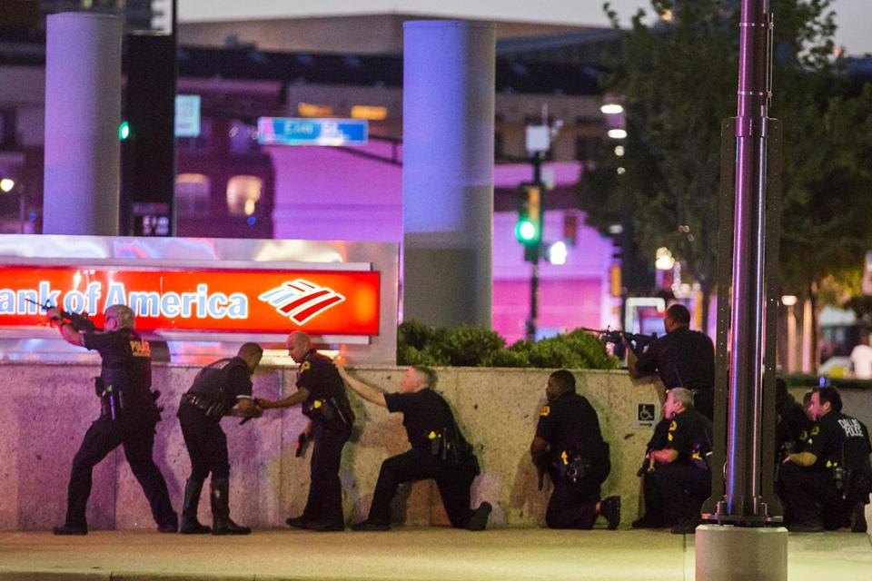 Dallas Police respond after shots were fired at a Black Lives Matter rally in downtown Dallas on Thursday, July 7, 2016. Dallas protestors rallied in the aftermath of the killing of Alton Sterling by police officers in Baton Rouge, La. and Philando Castile, who was killed by police less than 48 hours later in Minnesota. (Smiley N. Pool/The Dallas Morning News)