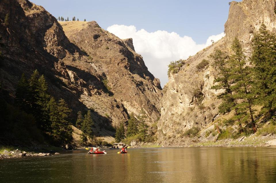 24rafting-- Rafts and kayaks approaching the entrance to the Impassable Canyon on the Middle Fork of the Salmon. CREDIT: David Goodman