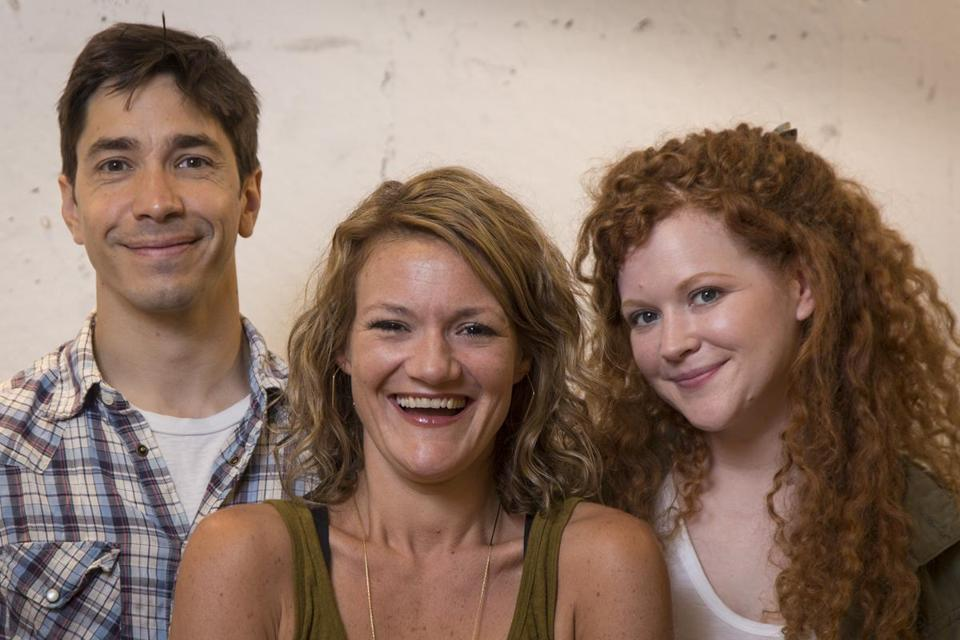 "Playwright Boo Killebrew (center) with actors Justin Long and Mary Wiseman of ""Romance Novels for Dummies."""