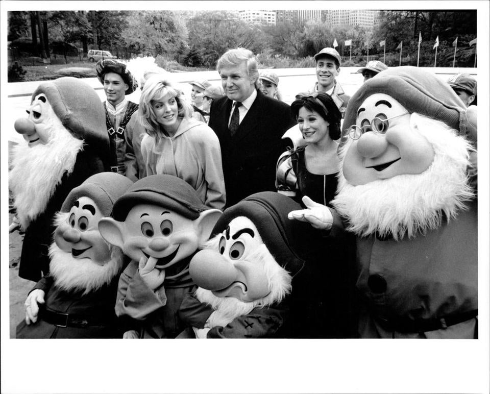 In November 1994, Donald Trump and then-wife Marla Maples, posed with Snow White, Prince Charming, and the Seven Dwarfs, before a performance by Walt Disney's World on Ice for New York's PS 59. (Photo by Dan Brinzac / (c) NYP Holdings, Inc. via Getty Images)