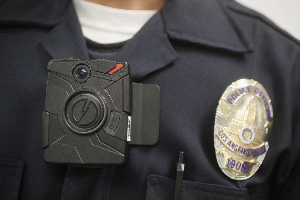 A Los Angeles Police officer wore an on-body camera during a demonstration of the technology in 2014.
