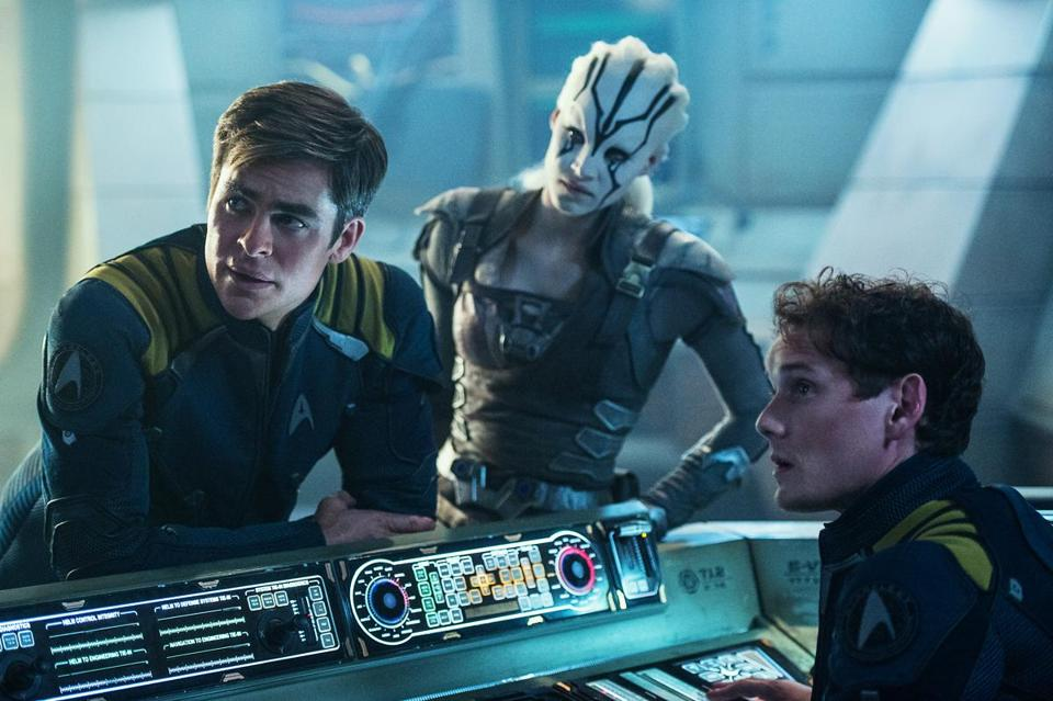 "From left: Chris Pine, Sofia Boutella, and Anton Yelchin in ""Star Trek Beyond."""