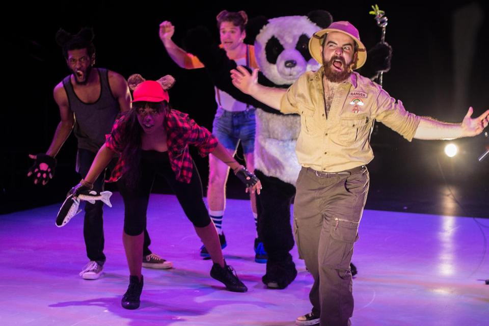 "From left: Kadahj Bennett, Alex Jacobs, Alyssandra Tay-lor, Mal Malme (panda suit), and Matt Dray in ""The T Party."""