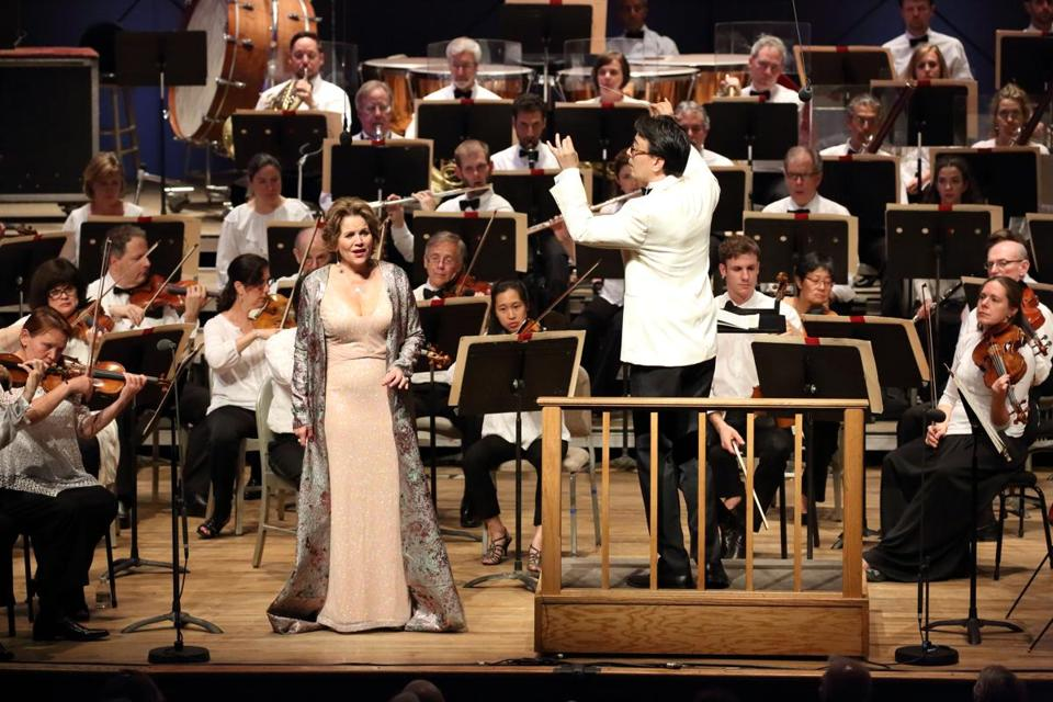 Soprano Renée Fleming and conductor Ken-David Masur performing with the BSO on Saturday night.