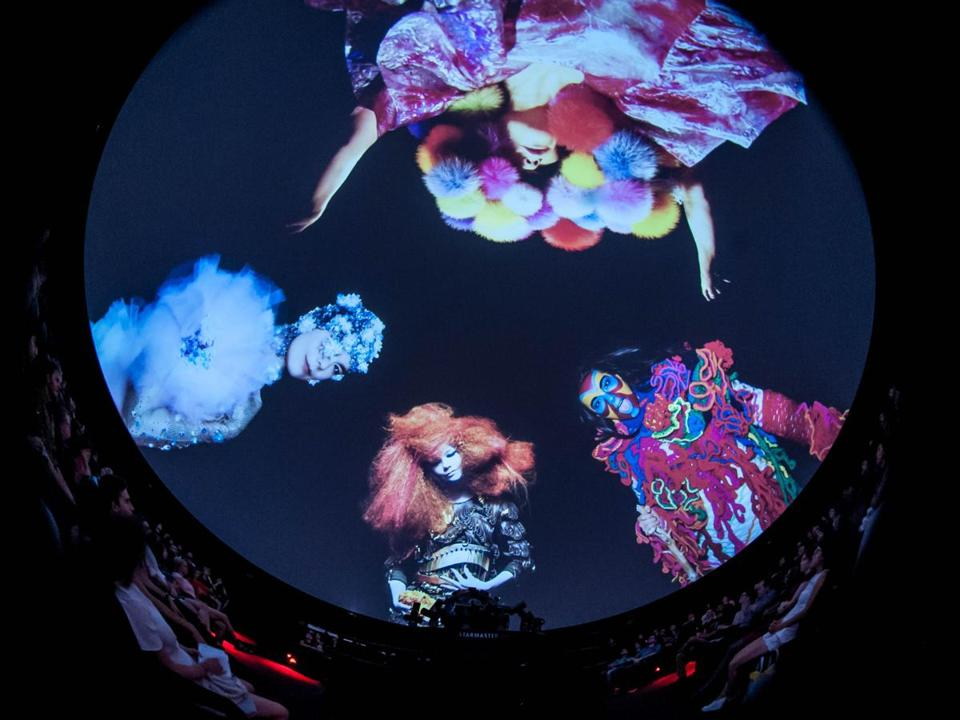 Images of Björk from a SubSpace presentation at the Charles Hayden Planetarium.