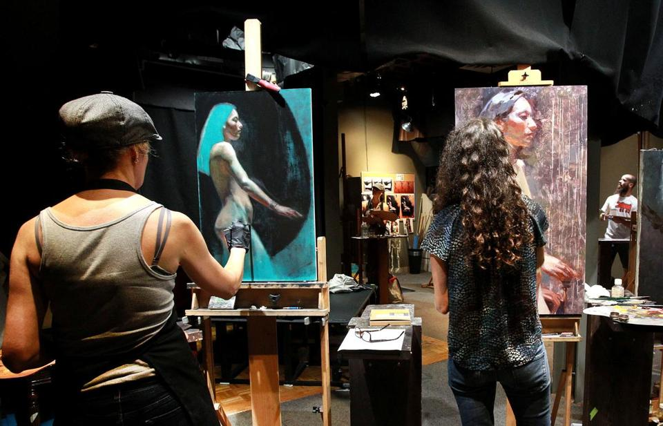 From left: Emanuela De Musis, Jennifer Balkan, and He Lihuai at work during the 2016 Boston Figure Painting Competition.