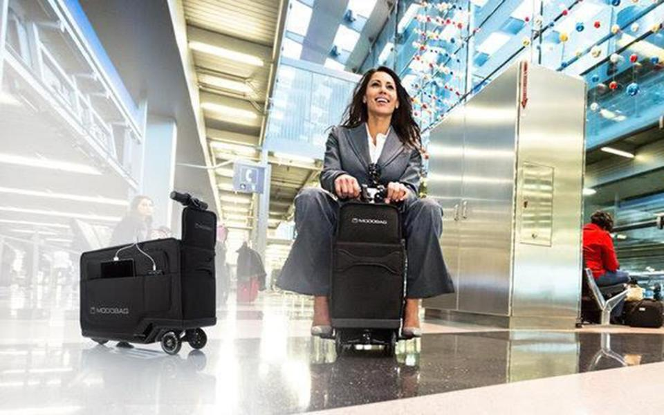 Ride on luggage a fun but very bad idea the boston globe for Motorized ride on suitcase