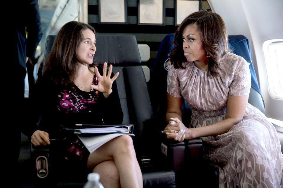 Speechwriter Sarah Hurwitz (left) with Michelle Obama during a flight to Santa Fe in May.