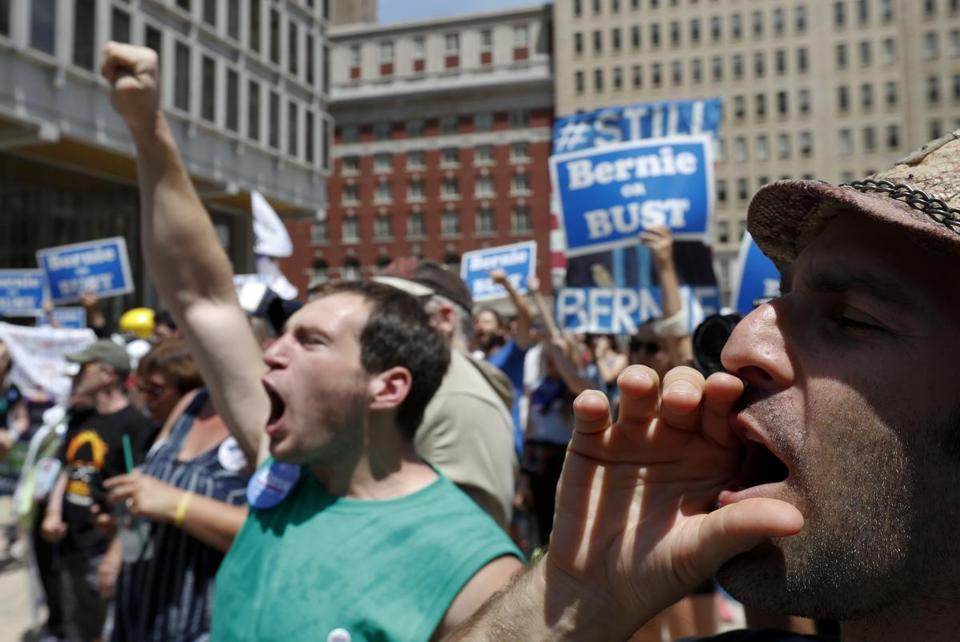 Supporters of Sen. Bernie Sanders, I-Vt., yell during a rally in Philadelphia, Tuesday, July 26, 2016, during the second day of the Democratic National Convention. (AP Photo/Alex Brandon)