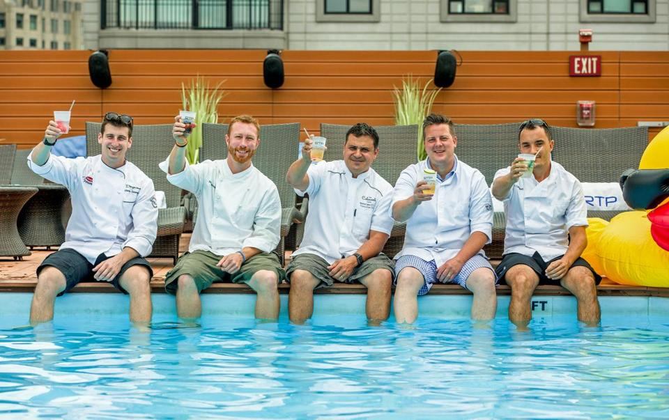 Chefs participating in weekly poolside pop-ups at the Colonnade Hotel this summer include (from left) Chris Coombs, Evan Hennessey, Nick Calias, Matthew Gaudet, Allen Campbell.