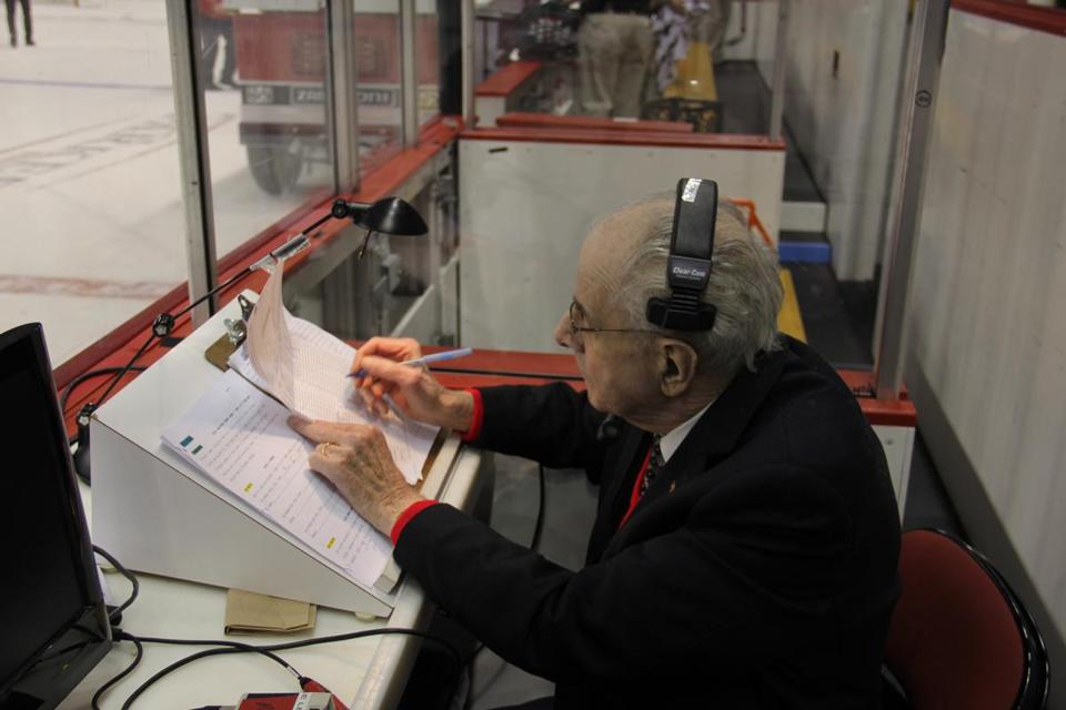 Jim Prior's rinkside announcing began in 1978 when he was the hockey voice of Arlington Catholic High.