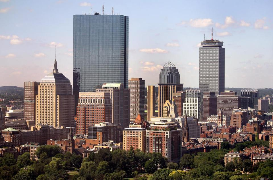 BOSTON, MA - 7/26/2016: A view of the Hancock Towers and the Prudential area in Boston. skyline aerial (David L Ryan/Globe Staff Photo) SECTION: METRO TOPIC stand alone photo