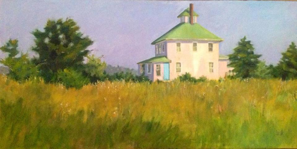 Marjet Lesk's painting of the Pink House in Newbury.
