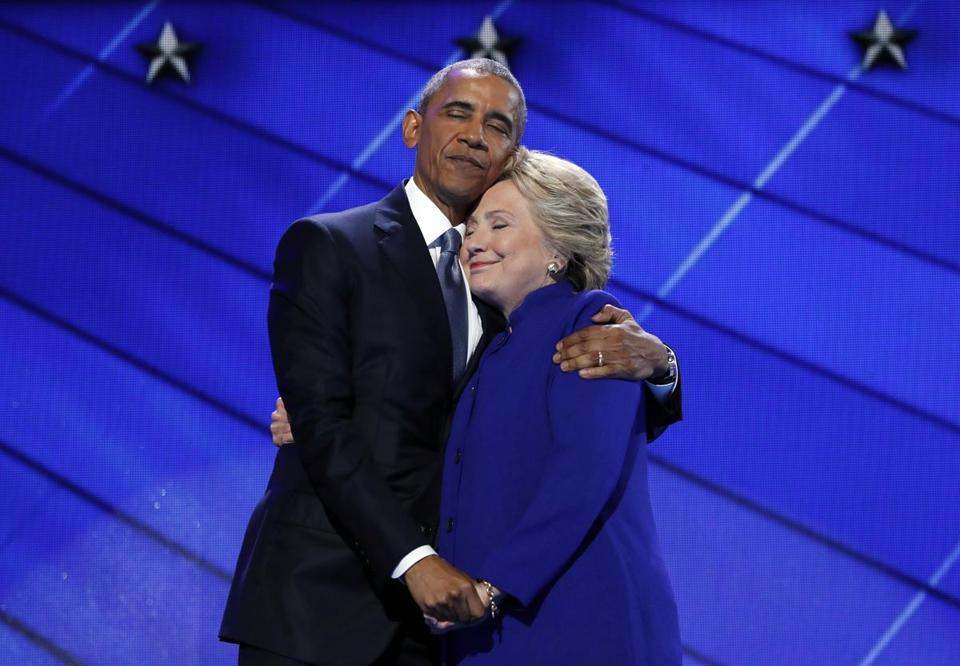 President Barack Obama hugs Hillary Clinton after addressing the delegates on Wednesday.