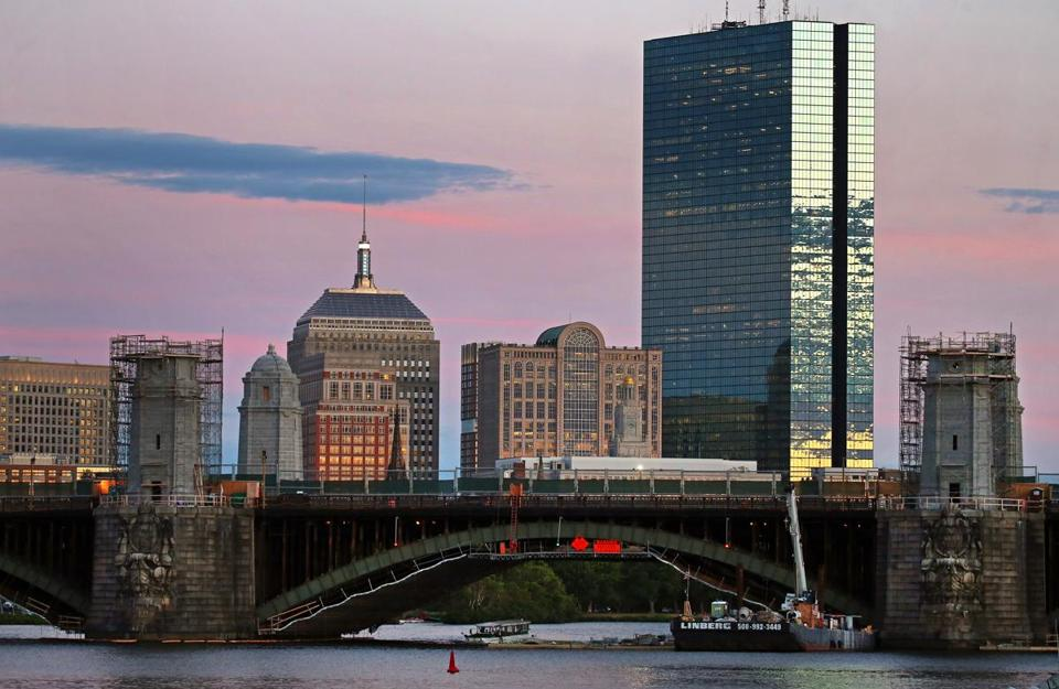 BOSTON, MA - 7/26/2016: The Longfellow Bridge that spans over the Charles River under reconstruction viewed from Cambridge at evening dusk (David L Ryan/Globe Staff Photo) SECTION: METRO TOPIC 05longfellow(2)