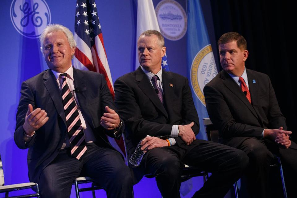 General Electric CEO Jeff Immelt (left) negotiated a rich incentives package with Governor Charlie Baker (center) and Mayor Marty Walsh of Boston to move his company to the city. Most companies can't get incentives but relocate for the local workforce.