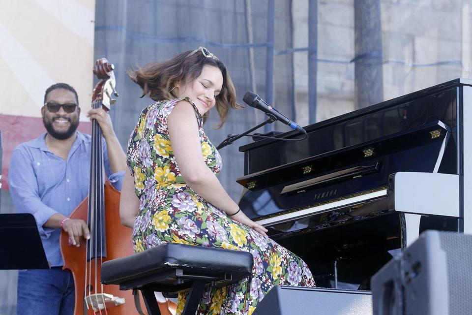 Norah Jones onstage at the Newport Jazz Festival Saturday.