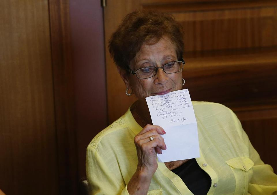 Dorothy Simonelli held the speech she read Monday.