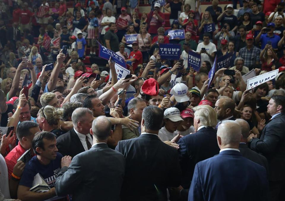 Donald Trump greeted supporters after a campaign rally on Monday in Mechanicsburg, Pa.