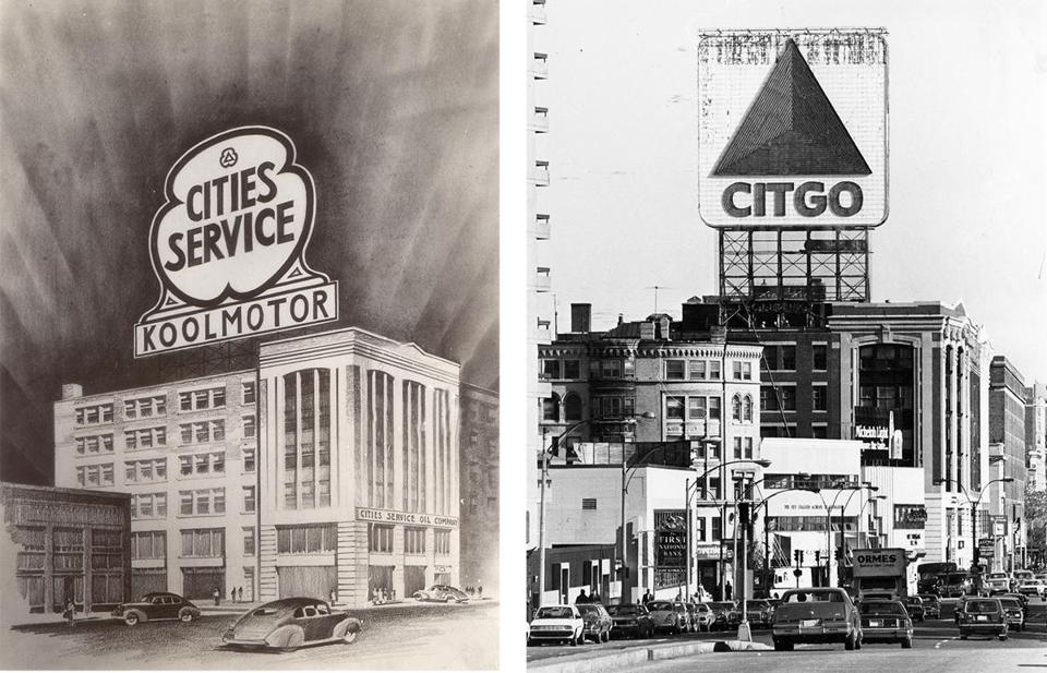 The Citgo sign's predecessor (seen in an illustration above left) had stood since 1940 atop what was the divisional headquarters of Cities Service; the Citgo sign (above right) as it looked in 1994.