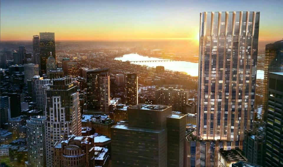 Millennium Partners wants to build a 775-foot-tall tower (right) on the site of the Winthrop Square parking garage.