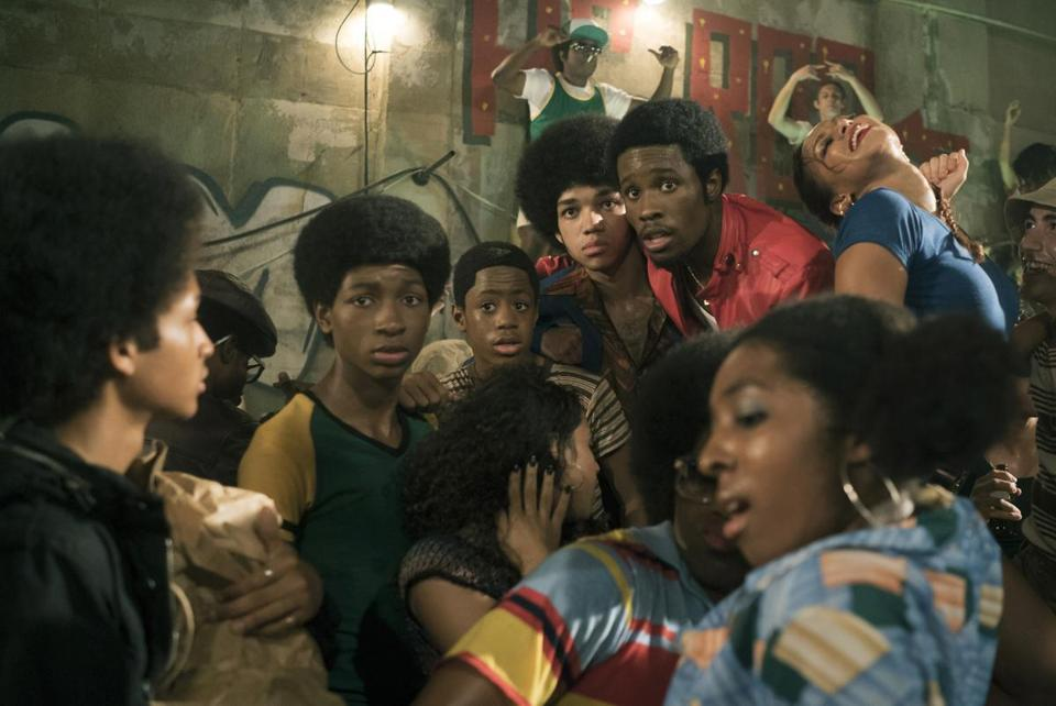"From left: Jaden Smith, Tremaine Brown Jr., Skylan Brooks, Justice Smith, and Shameik Moore in ""The Get Down."""