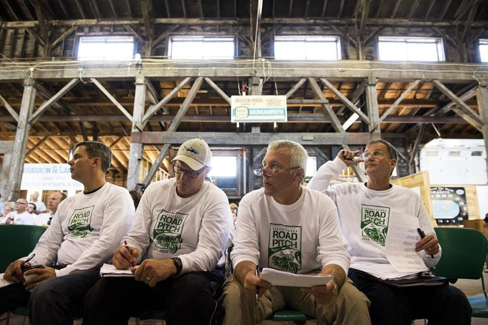 05roadpitch - From left, venture capitalits James Lockridge, Tom Myers, Jeff Finkelstein, and Cairn Cross listen to a presenation during the Central Vermont Road Pitch in Barre, Vt., on Wednesday, Aug. 3, 2016. Over the course of five days venture capitalists traveled across the state by motorcycle to meet with entrepreneurs and startup companies. (Paul Hayes For The Boston Globe)