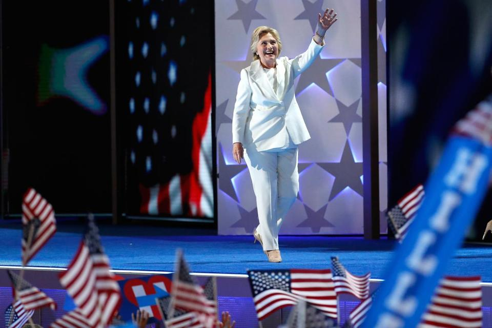 Clinton at the Democratic Convention in July.