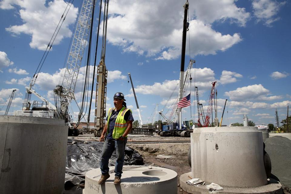 07/04/2016 - Everett, MA- Laborer Adalberto Martinez looks over the site following a ceremony marking the start of construction at the Wynn Resorts and Casino site in Everett, MA on August 04, 2016. Martinez said he drives a water truck and is responsible for keeping the soil wet and dust down. (Craig F. Walker/Globe Staff) section: Metro reporter: