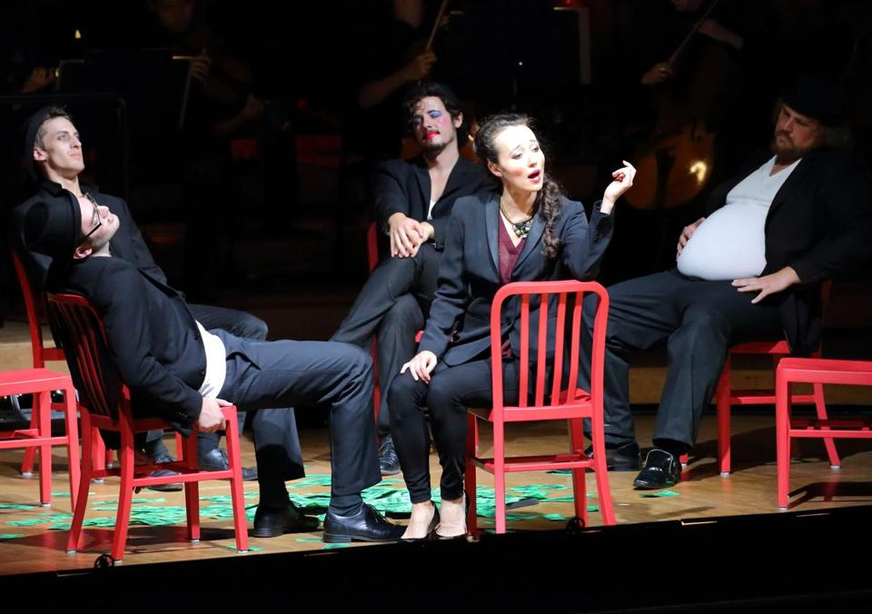 "Fleur Barron (center) portrayed Anna in ""Seven Deadly Sins"" in Ozawa Hall at Tanglewood Monday."