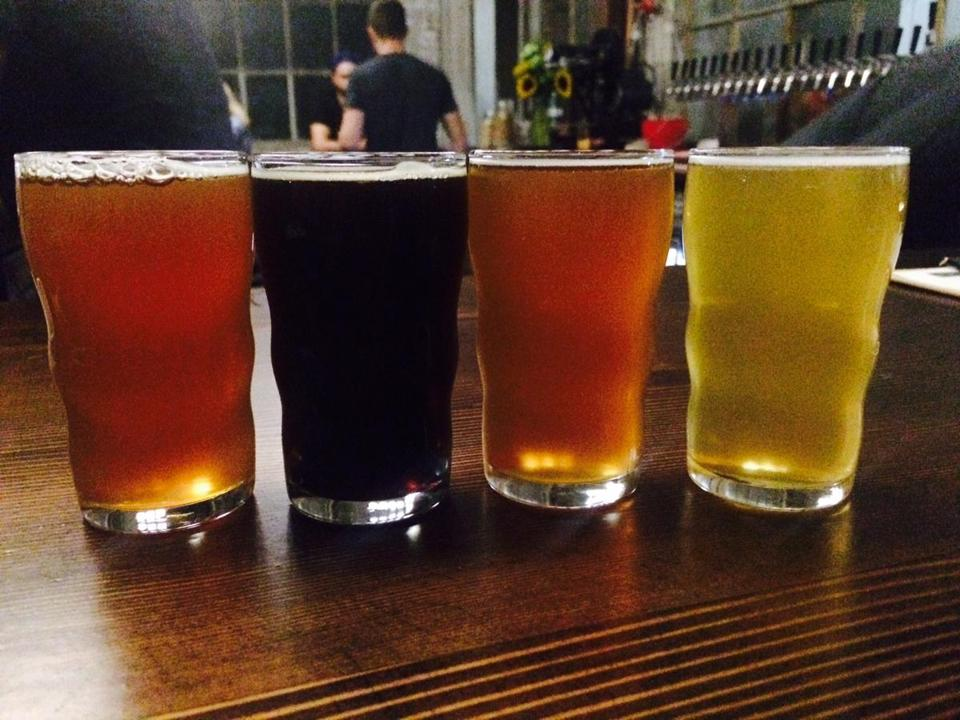 A flight of beers at Dorchester Brewing Co.