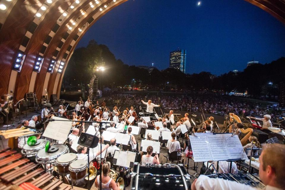 Boston Landmarks Orchestra performing at the Hatch Shell Thursday night.