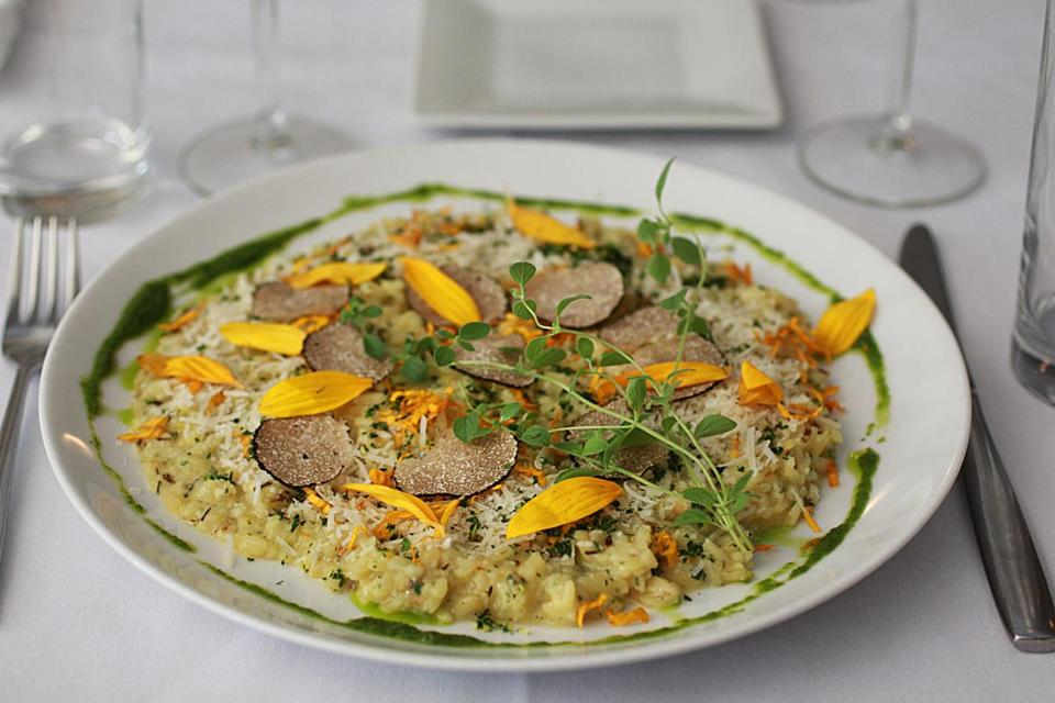 Sunflower risotto, from chef Charles Draghi at Erbaluce.