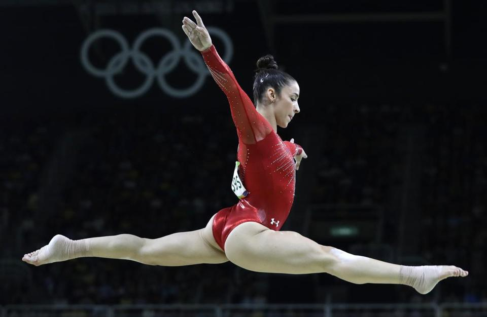 United States' Aly Raisman performs on the balance beam during the artistic gymnastics women's individual all-around final at the 2016 Summer Olympics in Rio de Janeiro, Brazil, Thursday, Aug. 11, 2016. (AP Photo/Rebecca Blackwell)