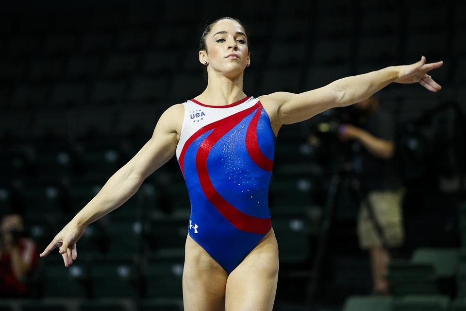 United States' Aly Raisman practices her floor exercise Thursday, April 7, 2016, in Everett, Wash. Competition begins Friday in the Pacific Rim gymnastics championships. (Ian Terry/The Daily Herald via AP)
