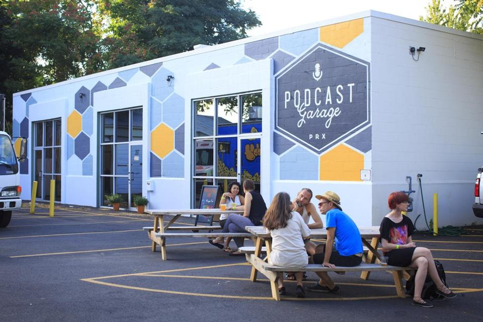 The Allston Podcast Garage is a space created by the Public Radio Exchange where people can use the studios to produce high-quality audio work.