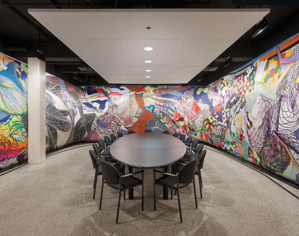 A Frank Stella mural in an MIT conference room.