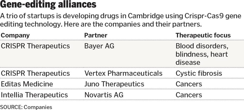CRISPR takes the wraps off joint venture with Bayer - The Boston Globe