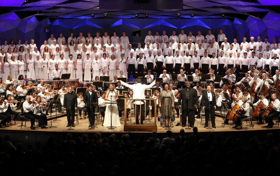 "Music director Andris Nelsons guest vocalists and the Tanglewood Festival Chorus in the first two acts of Verdi's ""Aida"" Saturday night at Tanglewood."