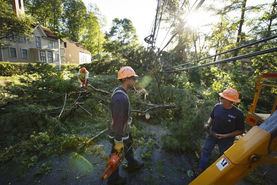 Crews in Concord spent most of Monday morning cleaning up downed trees and fallen power lines.