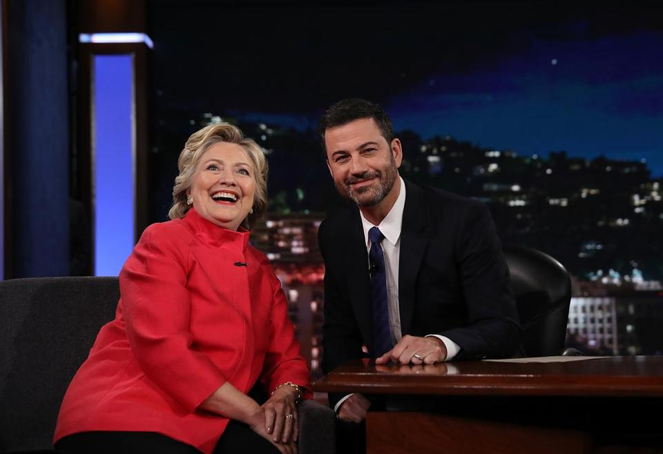LOS ANGELES, CA - AUGUST 22: Democratic presidential nominee former Secretary of State Hillary Clinton talks with Jimmy Kimmel on the set of Jimmy Kimmel Live on August 22, 2016 in Los Angeles, California. Hillary Clinton taped an appearance on Jimmy Kimmel Live while in Southern California to attend fundraisers. (Photo by Justin Sullivan/Getty Images) *** BESTPIX ***