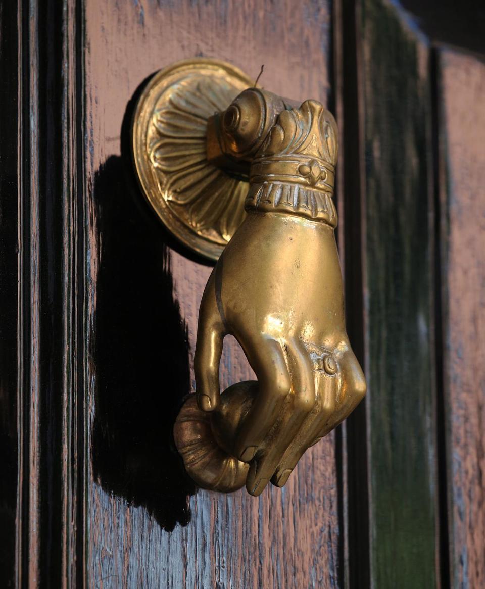 BOSTON, MA   8/23/2016: DOOR KNOCKERS On Beacon Hill .