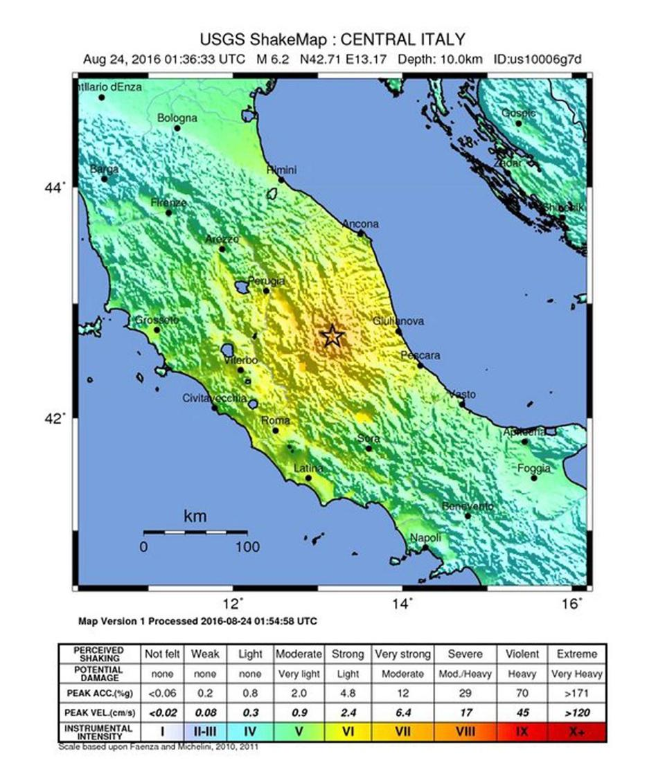 A handout released by the US Geological Survey shows the location of a 6.2 magnitude earthquake in Italy.