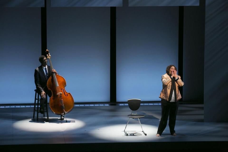 "Anna Deavere Smith with bassist Marcus Shelby in American Repertory Theater's ""Notes From the Field: Doing Time in Education."""