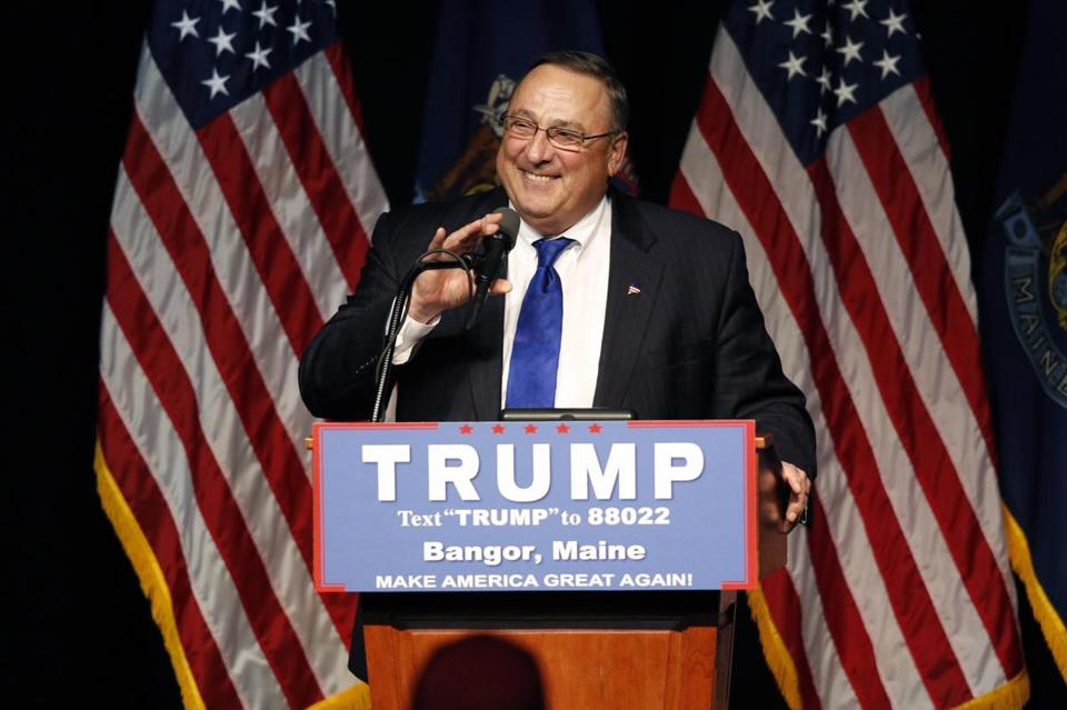 Maine Governor Paul LePage spoke at a rally for Donald Trump this summer in Bangor.