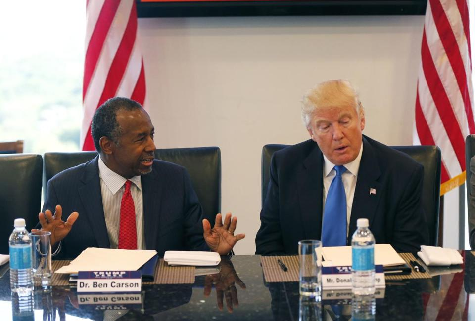 Former Republican presidential candidate Dr. Ben Carson during Republican presidential candidate Donald Trump's roundtable meeting with the Republican Leadership Initiative in his offices at Trump Tower in New York, Thursday, Aug. 25, 2016. (AP Photo/Gerald Herbert)