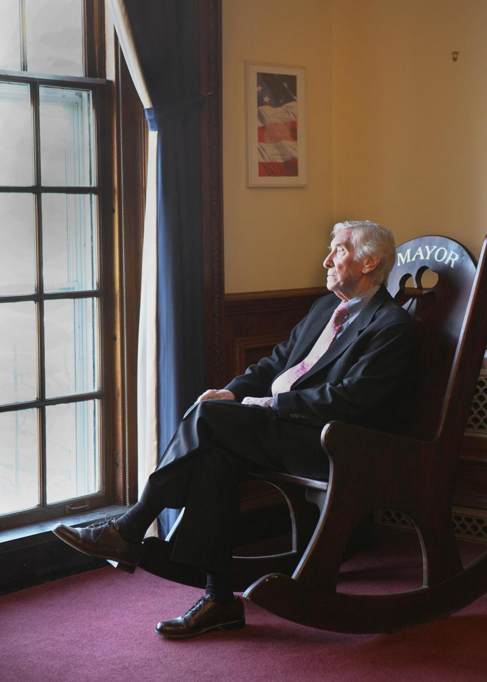 Mr. McGlynn sat in the office of his son, then-Medford Mayor Michael McGlynn, in 2012.