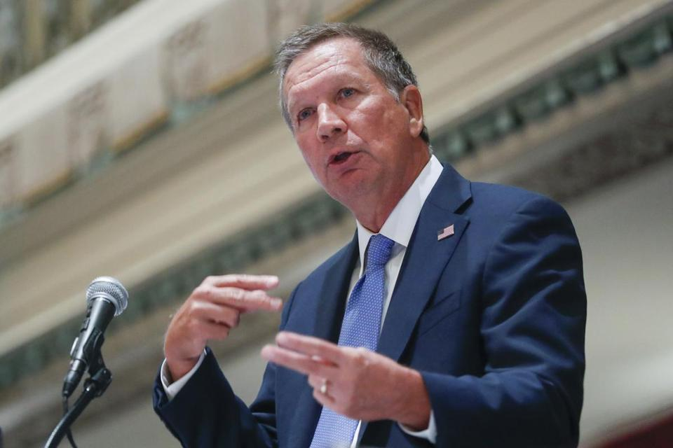 Ohio Gov. John Kasich speaks at the Regional Judicial Opioid Initiative opening summit, Thursday, Aug. 25, 2016, in Cincinnati. Accidental drug overdoses killed 3,050 people in Ohio last year, an average of eight per day, as deaths blamed on the powerful painkiller fentanyl again rose sharply and pushed the total overdose fatalities to a record high, the state reported Thursday. (AP Photo/John Minchillo)
