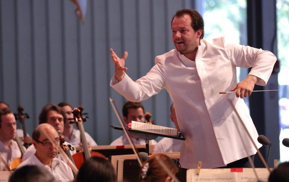 Andris Nelsons leading the BSO at Tanglewood on Sunday.